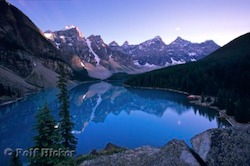 Picture of reflections in the glacier fed Lake Moraine in the Banff National Park of Alberta in Canada