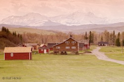 Picture of the National Historic site of Bar U Ranch backdropped by the Rocky Mountains in Alberta Canada