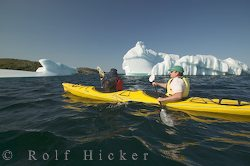picture of a person kayaking around an iceberg