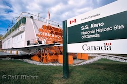 Picture of the SS Keno a riverboat which was made a National Historic Site in Dawson City in the Yukon Territory of Canada
