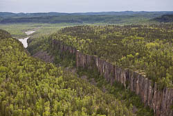 Aerial picture of Ouimet Canyon in ontario Canada