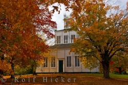 Picture of fall colours surrounding the Sharon Temple building a national historic site preserving the history of the children of Peace in Ontario Canada
