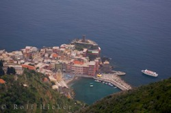 Aerial picture of the historic town of Vernazza in the Cinque Terre National Park a UNESCO World Heritage Site in the province of La Spezia in Italy.